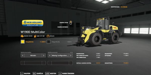Мод погрузчик New Holland W190D MultiColor v1.0 для Farming Simulator 2019